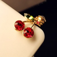 Hot Sale MinMix Order $10, 2013 NEW fashion cute cherry rhinestone headphone earphine dust plug jack plug for mobile phone