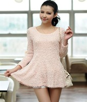 2013 09 hot-selling slim spring and autumn thin wool knitted solid color paillette one-piece dress