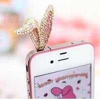 Free Shipping Min Mix Order $10, 2013 new cute rhinestone rabbit ear 3.5mm earphone dust plug for  mobile phone