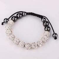 2014 Clay Shamballa White Crystal HipHop 11 Balls 10mm Beads Hand-made Bracelet Hot Gift  Women Men Shamballa Bracelet Jewelry