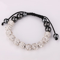 Shamballa White Crystal HipHop 11 Balls 10mm Beads Hand-made Bracelet Hot Gift  CLOVER153I/