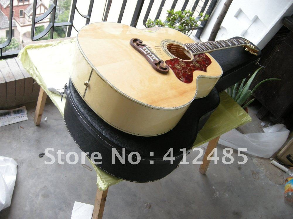 Free shipping wholesale High Quality new style Natural wood color veneer SJ200 Acoustic Guitar with case(China (Mainland))