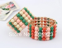 colorful bracelet beads bracelet 2013 fashion fancy chain bangles boutique wristband fashion 3pc/lot free ship