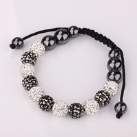 Handmade Braided SHAMBALLA 11 Beads Crystal DISCO BALL Micro Pave Shamballa Jewelry White with Gray European Style Bracelet