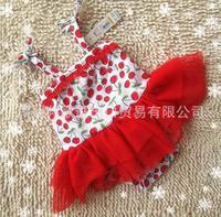 Children romper    baby cherry printed jumpsuit romper climbing clothes  HU89