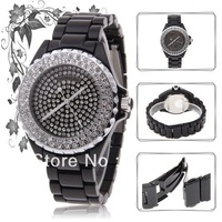 Freeshipping+Fashion luxury Ladies brand Sinobi Women&#39;s Wrist Watch Crystal Diamonds Steel Watchband-black