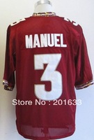 Free shipping Epacket, Discount  Men Florida State Seminoles #3 E.J Manuel  Red College Football Jerseys, Stripped logos sewn