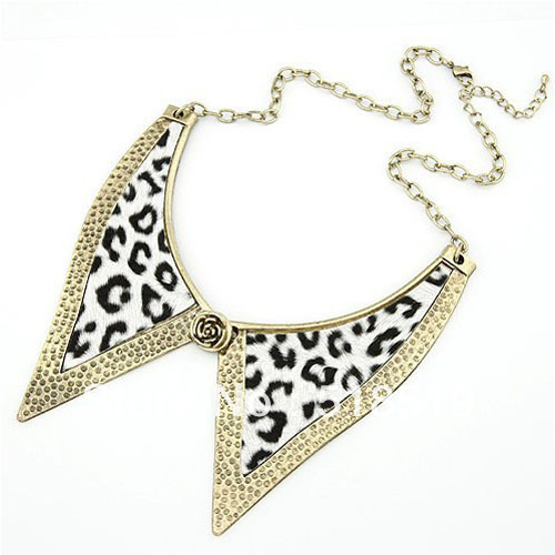 10PCS/LOT!!!Free Shipping!SM210!Wholesale Metal Texture Leopard Fake Collar Punk Style Alloy Petal Bow Tie Necklace JEWELRY(China (Mainland))