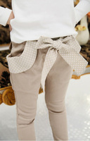 2014 Rushed Real Freeshipping Straight Solid Girls Mid Cotton Broadcloth Free Shipping!2013 Fashion Girls' Bow Pants