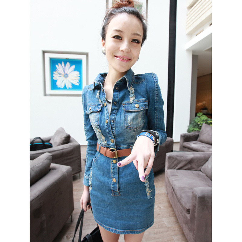 HOT new women fashion sexy restore ancient jeans dress, wash abrade belt blouses, plus size Free shipping(China (Mainland))