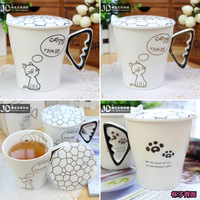 Brief bone china mug cup coffee cup lovers cup ceramic cups with lids,Freeshipping