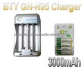 Hi-speed Quick AA AAA Rechargeable Battery BTY Batteries Charger GN-N95+4x AA 3000mAh 1.2V NI-MH Rechargeable Battery BTY