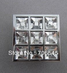 40MM clear crystal zinc alloy square type morden kitchen cabinet handle knob pulls drawer bar(China (Mainland))