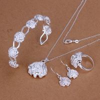 Free Shipping Fashion Jewelry Gift 925 Silver Plated Top Charm Necklaces Rings Earrings Bangles Rose Jewelry Sets Women YT321