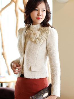 2012 woolen outerwear women's rabbit fur beading flower wool slim short jacket female coat