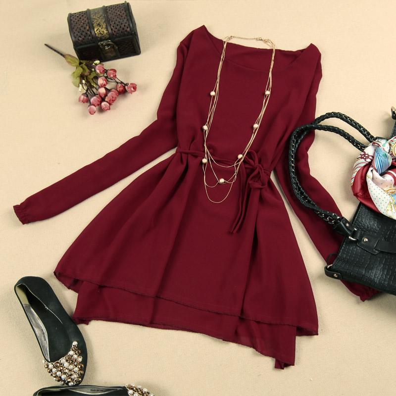 2013 juniors clothing trend of the basic long-sleeve chiffon one-piece dress(China (Mainland))
