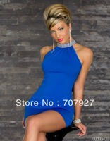 4 colors Fashion Ladies Bare shoulder dress halter party costume Sexy clubbing wear sexy dress