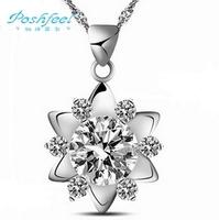 """Hot sale """"Poshfeel"""" brand fashion jewelry Genuine 925 sterling silver zircon crystal female pendants sun flower style"""