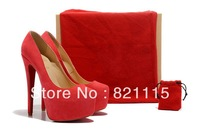 Designer dress shoes,hot selling daffodil 160mm real suede leather pumps red platform high heels factory price drop ship