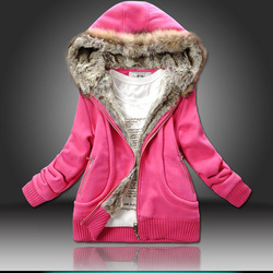 Free Shipping 2013 Three Color freeshipping manufacturers supply women Fur Collar hooded sweater women clothing M-XXL(China (Mainland))
