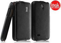 Black IMAK Side Flip Leather Case + LCD Guard For Huawei Ascend G330 U8825D