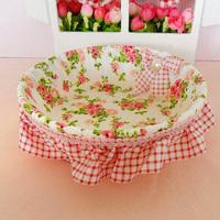 Rustic rattan powder princess blue fabric storage fruit basket candy basket