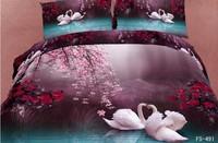FedEx Free shipping! 2013 New Arrival oil painting landscape 3D flower 100% cotton comforter set 4pcs