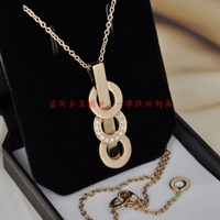 Artificial diamond ring 14K gold color horizontal stripes necklace