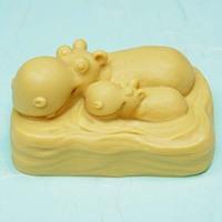 Best Price Hippo shape Silicone soap mold handmade soap mould salt sculpture crafts cake mould form JS-YZ330