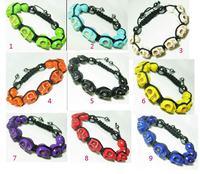 mini order 15$ Turquoise Shamballa Bracelet, with skull turquoise beads & hematite beads