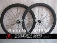 Ultralight carbon cycle wheels/light weight tubular carbon wheels/50mm tubular carbon wheel 25mm width U shape 1290g