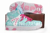 Free Shipping Korea SPX 2NE1 Endorsement High Cut Women Sneakers High Platform Flat Shoes Hip Hop Dancing Shoes Blue+Red
