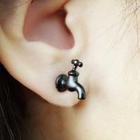 Hot Sell Fashion Cool Black Tap Stud Earring 1 pcs Good Quality Free Shipping