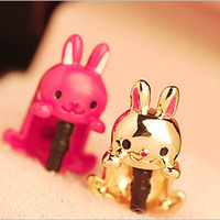 Hot Sale Min Mix Order $10, 2013 new cute lucky rabbit headphone jack plug dust plug for mobile phone