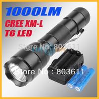 UltraFire WF-502B 1000LM CREE XM-L T6 LED Bulb 5 Mode Aluminum Alloy Flashlight Torch + 1x Holster + 1x Charger+ 2 Battery