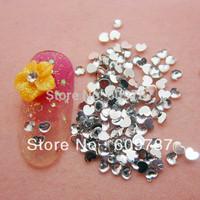 Free Shipping 10000pcs/lot Clear 2.5mm Flatback heart nail art Rhinestone stone decorations