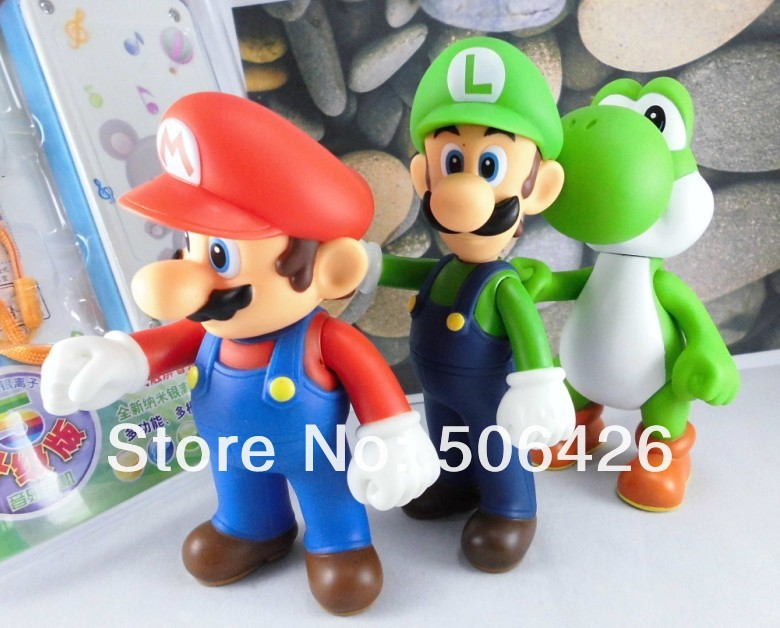 Wholesale Retail Free shipping 3pcs/set Super Mario Bros Luigi Mario Action Figures Toys Doll(China (Mainland))