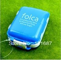 3 layer folding small kit 1 large +7 grid  Drug box  blue