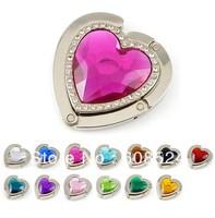 Free shipping fashion heart crystal bag hooks folding purse hangers handbag holders valentine gift The heart of ocean wholesale