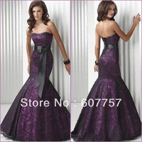 Custom Made 2013 Hot Sale Strapless Purple Satin Black Lace Belt Evening Dress Patrty Dress Prom Dress EV036