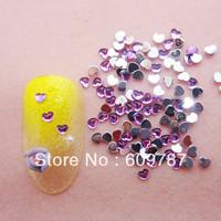 Free Shipping 10000pcs/lot Purple2.5mm Flatback heart nail art Rhinestone stone decorations