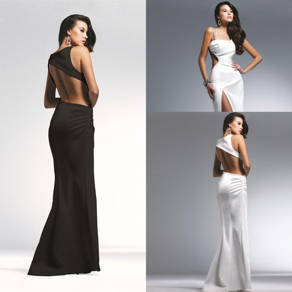 A326 Unique Design 2013 Classy One-Shoulder Beading Mermaid Black White Long Backless Shoulder Satin Dress Evening Gown(China (Mainland))