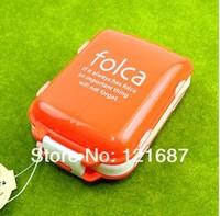 3 layer folding small kit 1 large +7 grid  Drug box  Orange and white