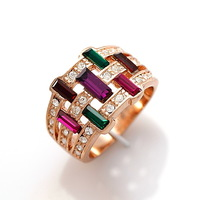 TS  ITALINA Exquisite Austria Crystal Rose Gold Plated Multi-color Beautiful Top Quality Rings Free Shipping(min order $10)