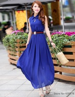 Free shipping 2013 NEW women Chiffon long dress blue red turndown collar free size E2