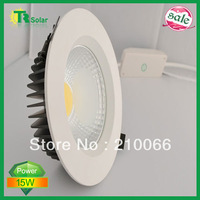 Free shipping(6 pieces/lot)15W AC80~240V cool&warm white Dimmable COB LED Downlight with Pure aluminium die casting LED lamp