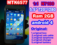 1280*720 resolution 2GB ram 1:1 N7100 phone Android 4.1 MTK6577 dual core 1.6Ghz 5.5 inch screen galaxy note 2 single/ dual sim