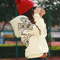 1 Piece  Women's Cute Deer Pattern Sweatshirt Cartoon Fawn Hoodies Top Outwear 3 Colors FWO10088