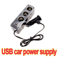 Triple 1 to 3 Socket + USB car Power Supply Car Charger free shipping dropshipping