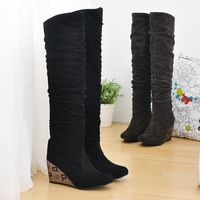 Sexy Black or Brown Wedge Heels Over the Knee Boots Womens Knee High Boots